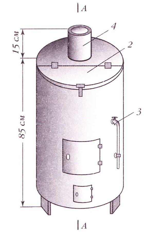 101512 1756 15 Железная печь бочка